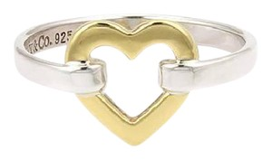 Tiffany & Co. Tiffany & Co. 18kt Yellow Gold & 925 Sterling Silver Open Heart Ring