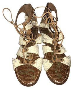 Sam Edelman Gladiator Lace-up Bootie Ankle Height Wedge Brown, Snake-skin Sandals