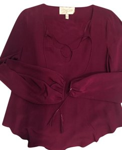 Rory Beca Tassle Lace-up Silk Date Night Comfortable Top Magenta