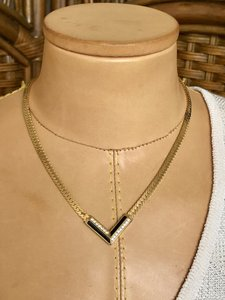 Dior Christian Dior Gold Plated Chevron Necklace