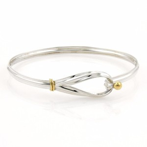 Tiffany & Co. Tiffany & Co. 925 Silver 18k Yellow Gold Hook & Eye Bangle Bracelet