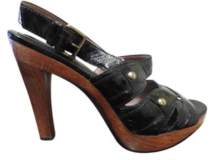 Derek Lam Leather Black with tan heel Sandals