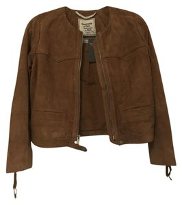 Abercrombie & Fitch Brown Suede Tan Leather Jacket