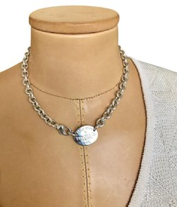 Tiffany & Co. Tiffany & Co Sterling Silver Oval Tag Necklace