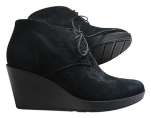 Cole Haan Suede Lace Up Bootie Black Wedges