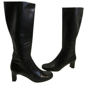 Cole Haan Upper Made Italy Black soft leather leather lining short stack wood heel Italian knee Boots