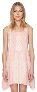Johnny Was short dress pink Tunic Linen Sleeveless Embroidered on Tradesy