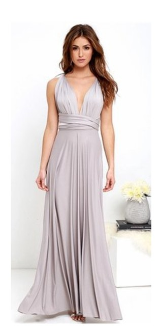 Item - Light Grey All The Sway Convertible Maxi Long Formal Dress Size 8 (M)