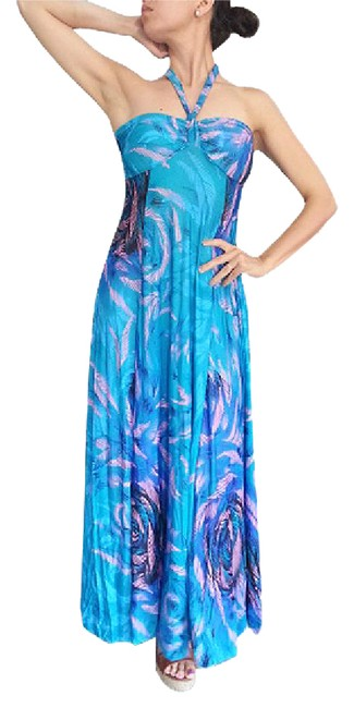 Item - Blue Paisley Maxi Strapless Or Halter Top ..great Quality Mid-length Formal Dress Size 12 (L)