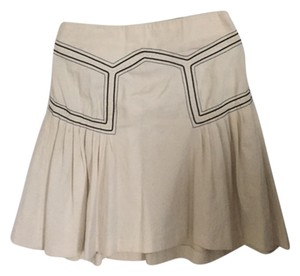 French Connection Geometric Pleated Skirt Off White/Creme with Black Details