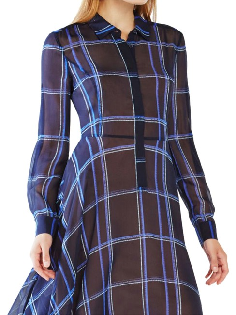 Item - Navy Blue Plaid Beatryce Long Work/Office Dress Size 12 (L)