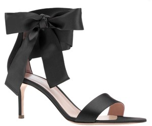Gianvito Rossi Satin Bow Gala 70 Ankle Bow Pumps Black Sandals