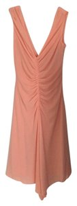 Laundry by Shelli Segal Rouched Pink Coral Peach Summer Cocktail V-neck Sleeveless Wedding Dress