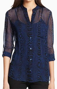 Diane von Furstenberg Top Blue and Black