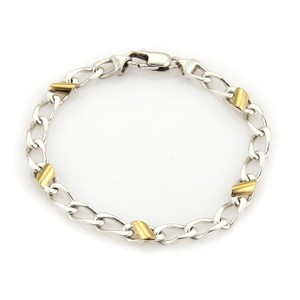 Tiffany & Co. Tiffany & Co. 18k Yellow Gold 925 Sterling Silver Curb Link Bracelet