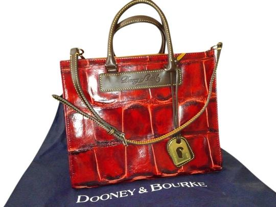 Dooney & Bourke Satchel in Red with T.moro brown trim