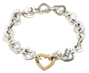Tiffany & Co. Tiffany & Co. Classic 925 Silver & 18k Yellow Gold Heart Link Bracelet