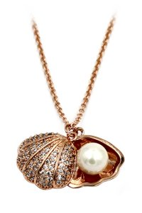 Ocean Fashion Pearl shell rose gold necklace
