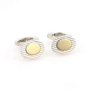 Tiffany & Co. Tiffany & Co. 18kt Yellow Gold & 925 Silver Oval Ridge Style Cufflinks