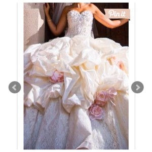 Ivory with Pink Flowers 1105 Formal Wedding Dress Size 4 (S)