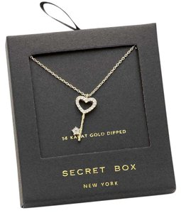 Black Box 14 K gold dipped crystal heart key pendant necklace with secret box