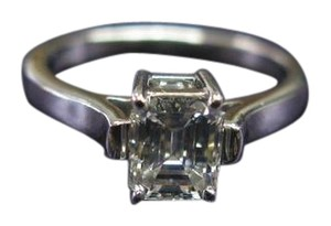 Tiffany & Co. Tiffany & C Platinum Emerald Cut Diamond Solitaire Ring .83Ct H-VVS2