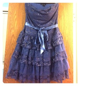 As U Wish Strapless Lace Ruffle Party Dress