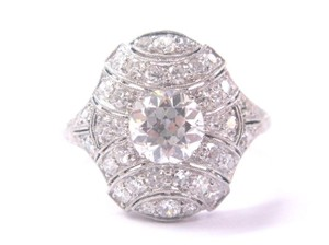 Other Platinum Art Deco Old European Cut Diamond Ring 1.84CT