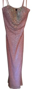 La Femme Sparkle Full Length Strapless Fitted Dress