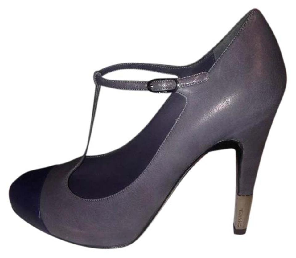5785f44554b Chanel Grey Navy Blue 13b Leather Cap Toe Mary Jane T Strap Metal Cc Pumps.  Size  US 9 ...