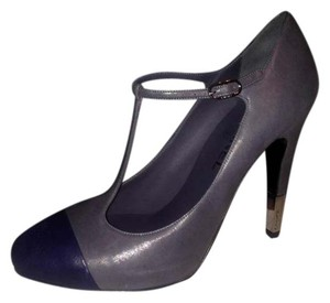 Chanel Metal Heel Grey Grey/Navy Blue Pumps