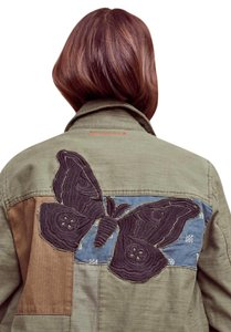 Anthropologie Butterfly Cotton Imported Military Green Jacket