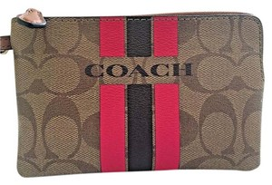 Coach Signature Wristlet in Khaki Pink Ruby
