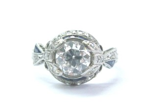 Other Platinum Vintage Old European Diamond Sapphire Milgrain Engagement Rin