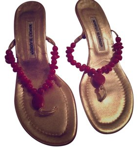 Manolo Blahnik Gold and Red Sandals