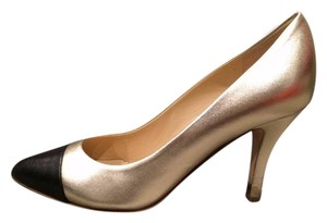 Chanel Metal Heel Pointed Toe Light Gold/Black Pumps