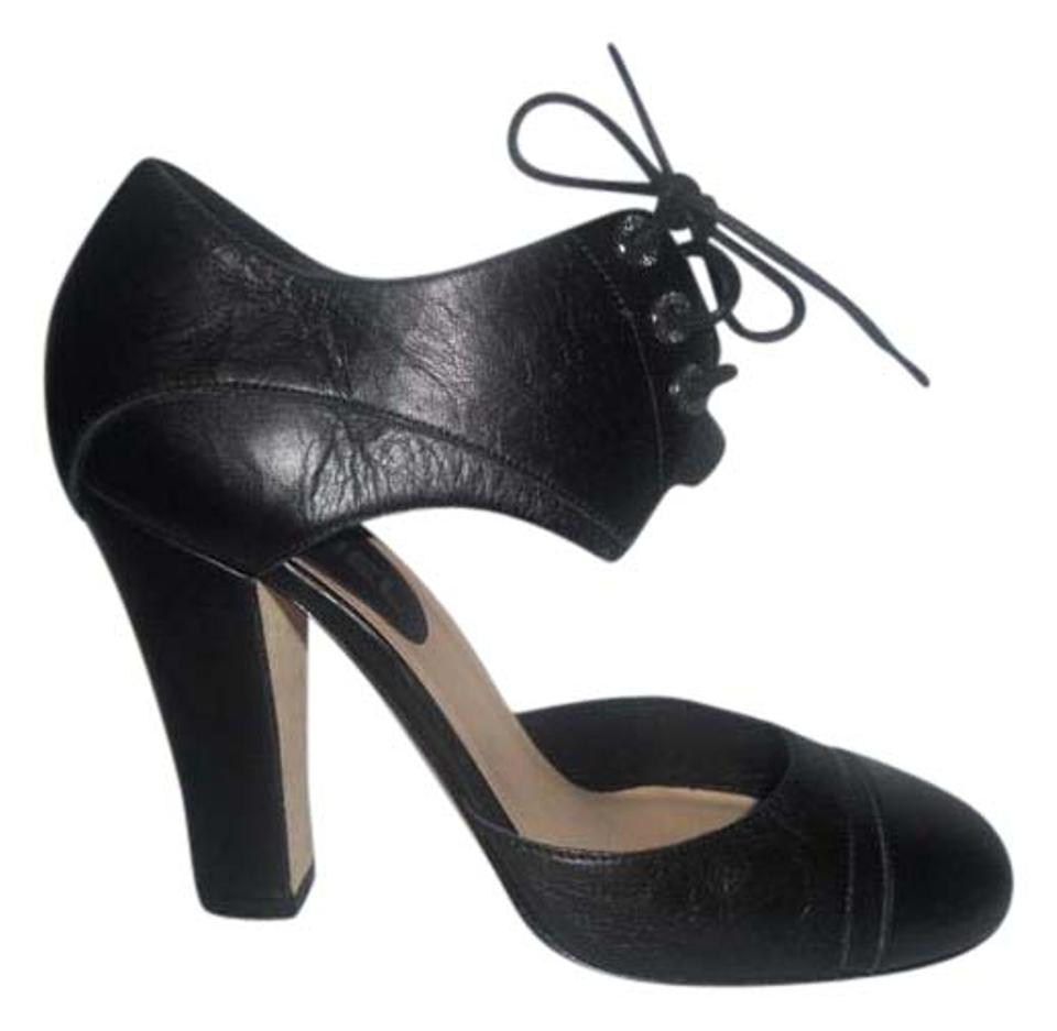 e082f59dffdf Chanel Black Leather Cinema Mary Jane Lace Tie Up Heels 37.5 Pumps ...