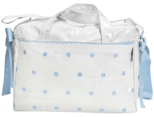 Uzturre Casual Embroidered Maternity Oversized White with Blue trim Diaper Bag