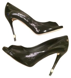 Chanel Pearl Patent Leather Open Toe Black Pumps