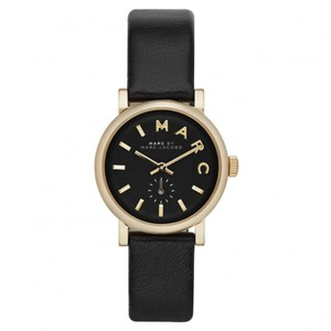 Marc Jacobs Marc Jacobs Women's Baker Mini Gold Tone Black Leather Watch MBM1273
