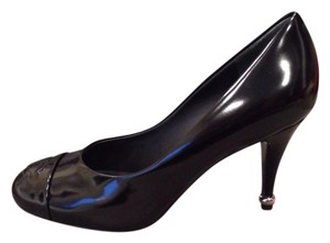 Chanel Heels Metal Heel Glazed Black Pumps