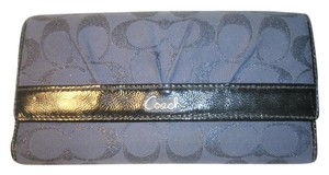Coach Authentic Navy Blue Coach Signature Tri-Fold Nature Wallet