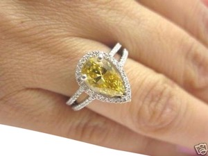 Other Fine Vivid Orange-Yellow Pear Shape Solitaire with Accents Diamond Rin