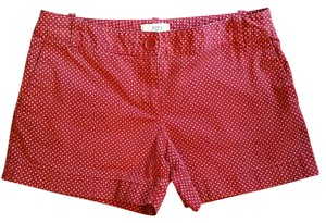 Ann Taylor LOFT Mini/Short Shorts Burgundy Red Polka Dot