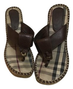 Burberry Thong Sandal Sandals Brown Wedges