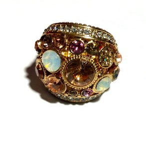 Other New Gold Tone Crystal Stretch Statement Ring One Size J3210