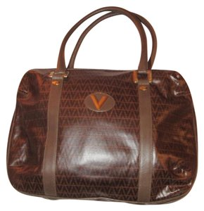 Valentino Mint Vintage Xl Size High-end Bohemian Great Signature Rare Satchel in brown V logo print coated canvas & brown leather