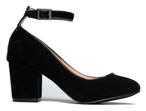 J. Adams Suede Block Heel Round Toe Trendy Black Suede Pumps