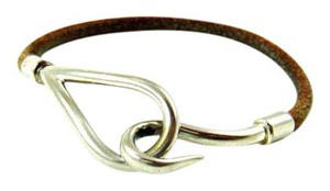 Herms Silver/Brown Leather H Hook Bracelet France w/ Box