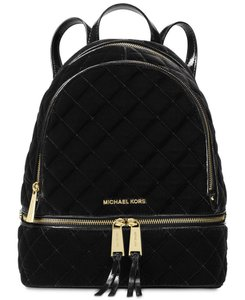Michael Kors Gold Hardware Logo Velvet Quilted Backpack